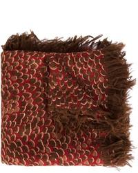 Écharpe en soie imprimée léopard brune foncée Chloé