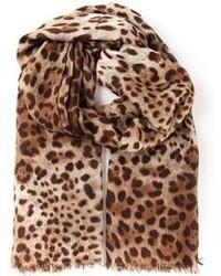 Écharpe imprimée léopard brune