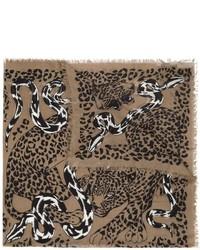Écharpe imprimée léopard brune Alexander McQueen