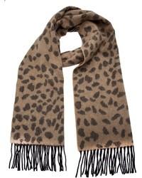 Écharpe imprimée léopard brune Lucien Pellat-Finet