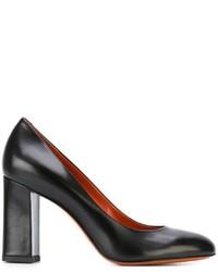 Escarpins en cuir épaisses noirs Santoni