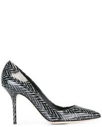 Escarpins en cuir imprimés noirs Dolce & Gabbana
