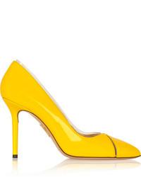 Escarpins en cuir jaunes Charlotte Olympia