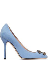 Escarpins en daim ornés bleus clairs Gucci