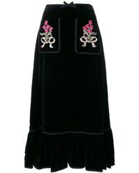 Falda bordada negra de Gucci