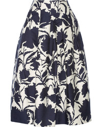 Falda campana con print de flores azul marino de Oscar de la Renta