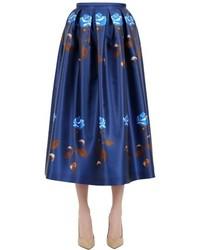 Falda campana con print de flores azul marino de Rochas