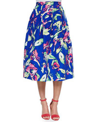 Falda campana con print de flores azul