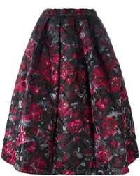 Falda campana con print de flores negra de Comme des Garcons