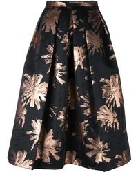 Falda campana con print de flores negra