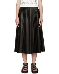Falda campana de cuero negra de Alexander Wang