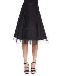 Falda campana de malla negra de Donna Karan