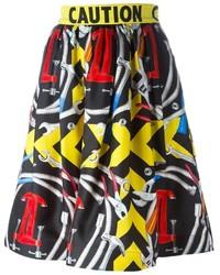 Falda campana estampada en multicolor de Moschino