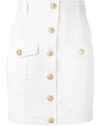 Falda con botones blanca de Balmain
