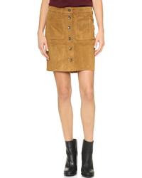 Falda con botones de ante marrón claro