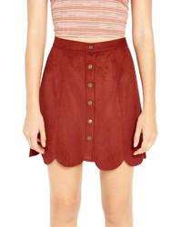 Falda con botones de ante roja