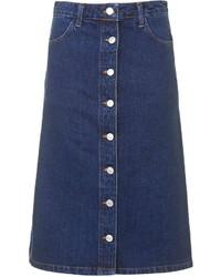 Falda con botones vaquera azul marino