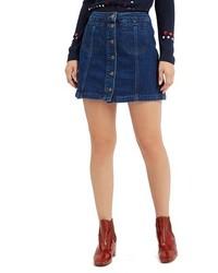 Falda con botones vaquera azul marino de Topshop