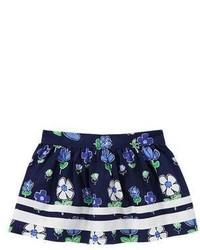 Falda con print de flores azul marino