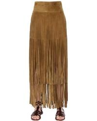 ccf8a4167c Comprar una falda de ante сon flecos mostaza  elegir faldas de ante ...