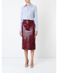 Falda de cuero burdeos de Rochas