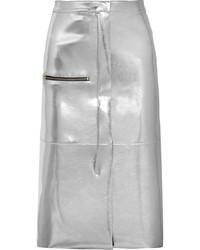 Falda de cuero plateada de Golden Goose Deluxe Brand