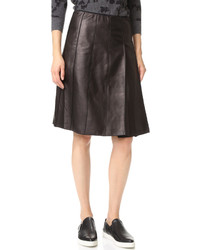 Falda de cuero plisada negra de Marc Jacobs