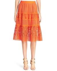 Falda de encaje con estampado geométrico naranja de Diane von Furstenberg