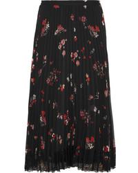 Falda de Gasa de Flores Negra de RED Valentino