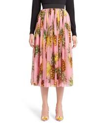 Falda de Gasa Plisada Rosada de Dolce & Gabbana