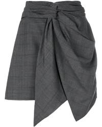 Falda de Lana a Cuadros en Gris Oscuro de Etoile Isabel Marant