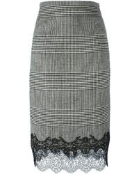 Falda de lana a cuadros negra de Ermanno Scervino
