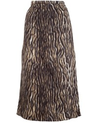 Falda de lana estampada marrón de Rochas