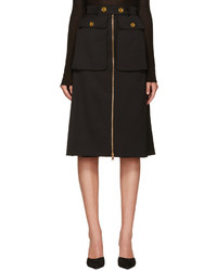 Falda de lana negra de Alexander McQueen