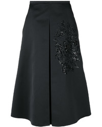 Falda de lentejuelas bordada negra de Rochas