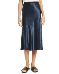 Falda de Satén Azul Marino de Vince
