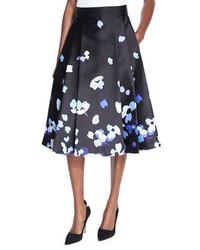 Falda de satén con print de flores negra de Kate Spade