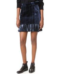 Falda de terciopelo plisada azul marino de 3.1 Phillip Lim