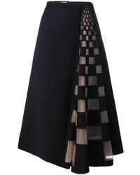 Falda de Tul a Cuadros Negra de Fendi