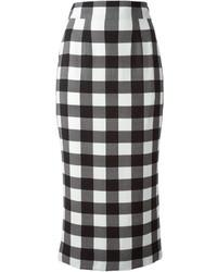 Falda lápiz a cuadros en blanco y negro de Dolce & Gabbana