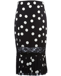 Falda Lápiz a Lunares Negra y Blanca de Dolce   Gabbana  dónde ... 750d1066b350