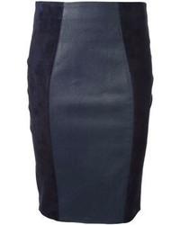Falda lápiz de cuero azul marino de P.A.R.O.S.H.
