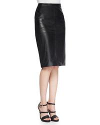 Falda lápiz de cuero con recorte negra de Bagatelle