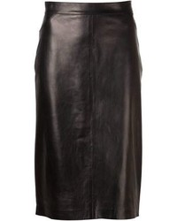 Falda lápiz de cuero negra