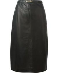 Falda lápiz de cuero negra de Celine