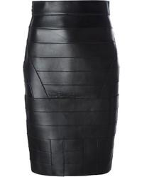 Falda lápiz de cuero negra de Dsquared2