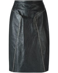 Falda lápiz de cuero negra de Golden Goose Deluxe Brand