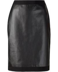Falda lápiz de cuero negra de Lanvin