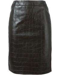 Falda lápiz de cuero negra de Max Mara
