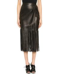 Falda lápiz de cuero сon flecos negra de Tamara Mellon